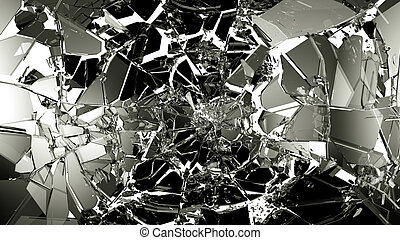 Broken and cracked glass isolated on white high resolution