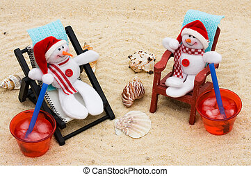 Relaxing on your winter vacation - A lounge chair with...