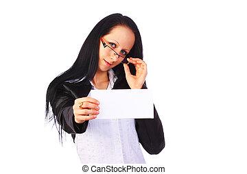 carte, femme affaires, isolé,  élégant, tenue, vide, blanc