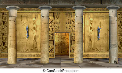 Ancient Egyptian Temple Indoor - Digital painting of the...