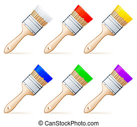Paint brushes. - Set of 6 paint brushes, with colour paint.
