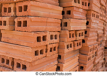 pile of brick block used for industrial in residential...