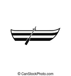 Boat with paddles icon - Boat with paddles black simple icon...