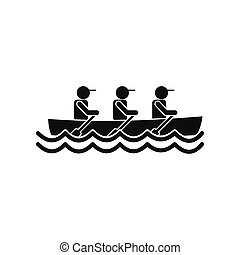 Rowing race icon - Rowing race black simple icon isolated on...
