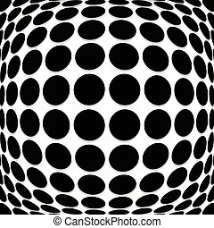 Abstract circle pattern with convex, protuberant deformation...