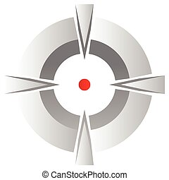 Cross hair, target mark symbol with red dot isolated on white.