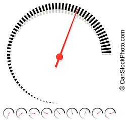 Circular dial, gauge template with increments and red needle