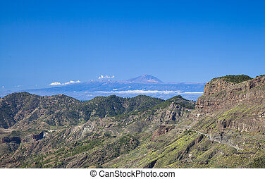 Gran Canaria, view across Caldera de Tejeda towards Teide on...