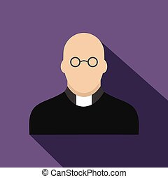 Priest flat icon Colored symbol with shadow isolated on a...