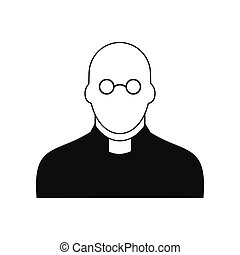 Priest black simple icon isolated on white background