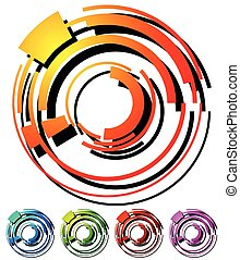 Abstract hi-tech segmented geometric circle in 5 colors