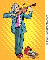 street musician violinist pop art retro style The arts and...