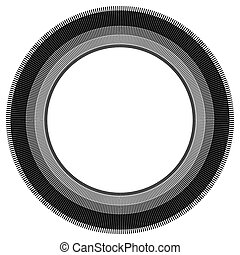 Abstract circle element with geometric lines on white