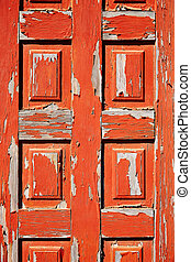 Aged red door in Fuerteventura Canary Islands of Spain