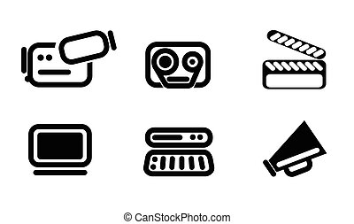 Video editor and converter icons set - video simply symbols...