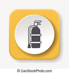 fuego, Extintor, icono