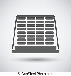 Construction pallet icon on gray background with round...