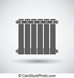 Radiator icon on gray background with round shadow Vector...