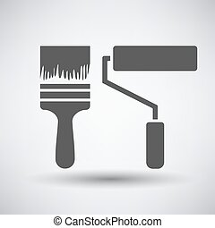 Construction paint brushes icon on gray background with...
