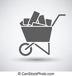 Construction cart icon on gray background with round shadow...