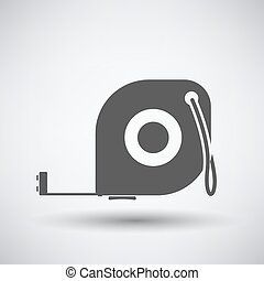 Constriction tape measure icon on gray background with round...