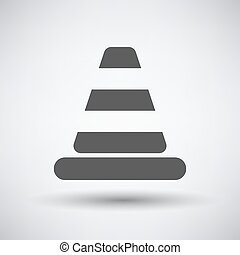 Traffic cone icon on gray background with round shadow...