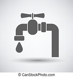 Pipe with valve icon on gray background with round shadow...