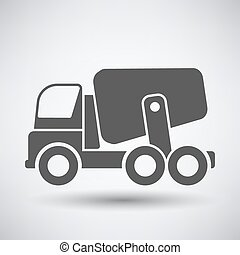 Concrete mixer icon on gray background with round shadow....