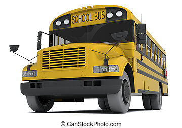 School bus - Single yellow school bus isolated on white...