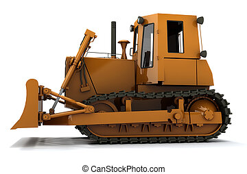 Bulldozer - Orange dirty bulldozer isolated on white...