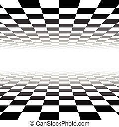 Vanishing checkered surface. 3d surface in perspective....