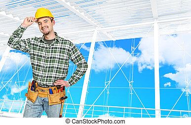 confident manual worker and modern building background