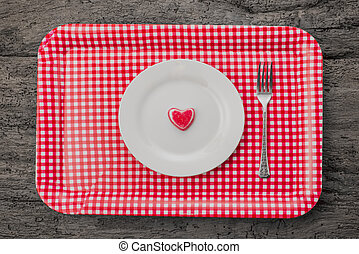 Love cards, heart of jelly on a plate with tray on old...