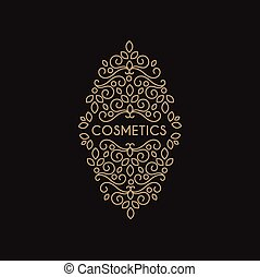 Cosmetics Monogram, Vector Illustration Ornament Flourishes...