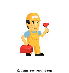 Friendly construction worker man with tools, vector...