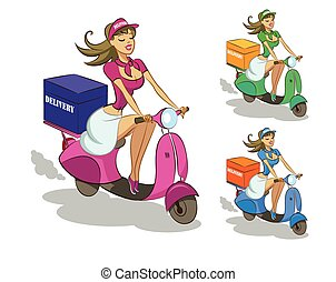 Delivery scooter. Vector illustration isolated on a white...