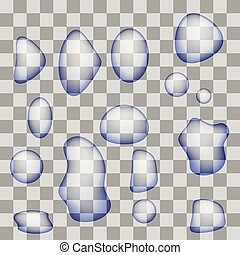 Set of Transparent Water Drops Isolated on Gray Checkered...