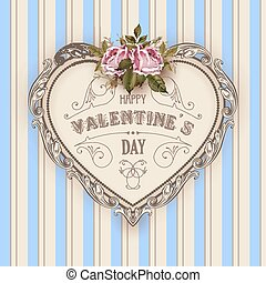 Vintage Valentines Day greeting card With Roses and Heart -...