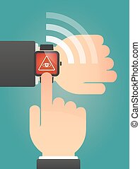 Hand pointing a smart watch with an all seeing eye -...
