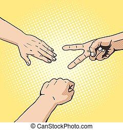 Rock paper scissors hand game pop art style vector