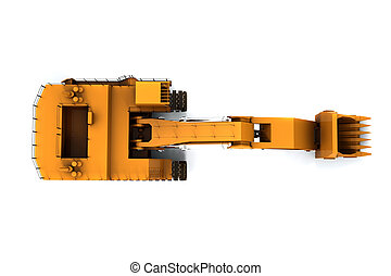 Digger - Orange dirty digger isolated on white background...