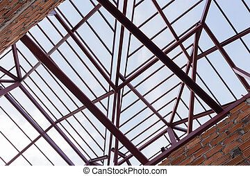structural steel beam on roof of building residential...