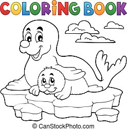 Coloring book happy seal with pup - eps10 vector...