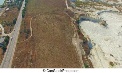 AERIAL VIEW Driveway Near Open Mine In Bakhchisarai, Crimea...