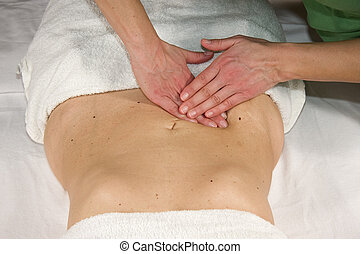abdominal massage - appendix region - a closeup of a natural...