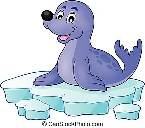 Happy seal on iceberg theme 1 - eps10 vector illustration