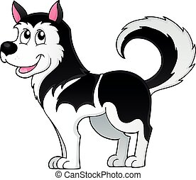 Husky dog theme image 1 - eps10 vector illustration.