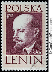 Lenin on a vintage post stamp - POLAND 1962 - portrait of...