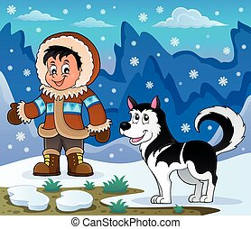 Inuit boy with Husky dog - eps10 vector illustration