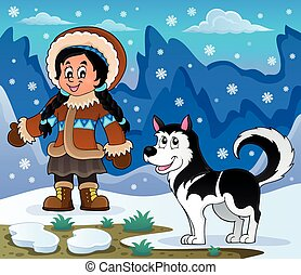 Inuit girl with Husky dog - eps10 vector illustration